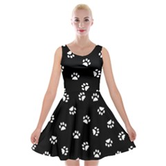 Footprints Cat White Black Velvet Skater Dress