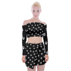 Footprints Cat White Black Off Shoulder Top With Skirt Set