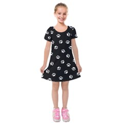 Footprints Cat White Black Kids  Short Sleeve Velvet Dress