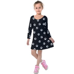 Footprints Cat White Black Kids  Long Sleeve Velvet Dress