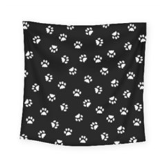Footprints Cat White Black Square Tapestry (small)