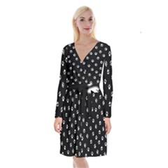 Footprints Cat White Black Long Sleeve Velvet Front Wrap Dress