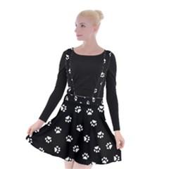 Footprints Cat White Black Suspender Skater Skirt