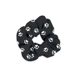 Footprints Cat White Black Velvet Scrunchie
