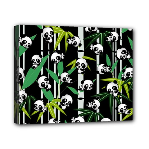Satisfied And Happy Panda Babies On Bamboo Canvas 10  x 8