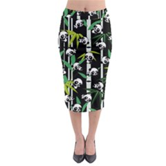 Satisfied And Happy Panda Babies On Bamboo Midi Pencil Skirt