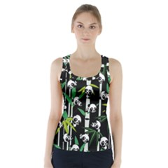 Satisfied And Happy Panda Babies On Bamboo Racer Back Sports Top