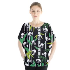 Satisfied And Happy Panda Babies On Bamboo Blouse