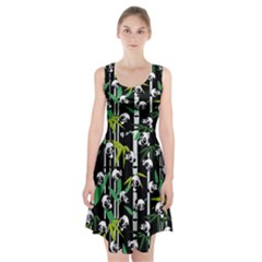 Satisfied And Happy Panda Babies On Bamboo Racerback Midi Dress