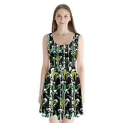 Satisfied And Happy Panda Babies On Bamboo Split Back Mini Dress