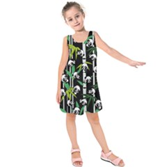Satisfied And Happy Panda Babies On Bamboo Kids  Sleeveless Dress