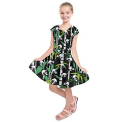 Satisfied And Happy Panda Babies On Bamboo Kids  Short Sleeve Dress