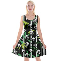 Satisfied And Happy Panda Babies On Bamboo Reversible Velvet Sleeveless Dress