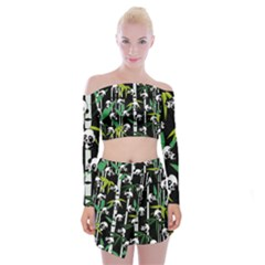 Satisfied And Happy Panda Babies On Bamboo Off Shoulder Top With Skirt Set
