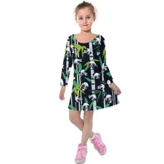 Satisfied And Happy Panda Babies On Bamboo Kids  Long Sleeve Velvet Dress