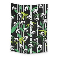 Satisfied And Happy Panda Babies On Bamboo Medium Tapestry
