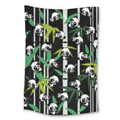 Satisfied And Happy Panda Babies On Bamboo Large Tapestry