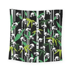 Satisfied And Happy Panda Babies On Bamboo Square Tapestry (small)