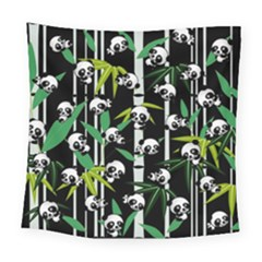 Satisfied And Happy Panda Babies On Bamboo Square Tapestry (large)