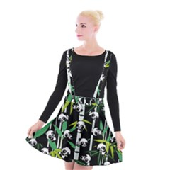 Satisfied And Happy Panda Babies On Bamboo Suspender Skater Skirt