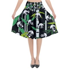 Satisfied And Happy Panda Babies On Bamboo Flared Midi Skirt