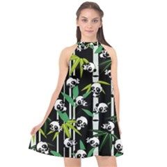 Satisfied And Happy Panda Babies On Bamboo Halter Neckline Chiffon Dress