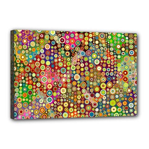 Multicolored Retro Spots Polka Dots Pattern Canvas 18  X 12