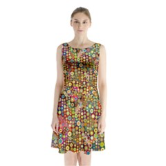 Multicolored Retro Spots Polka Dots Pattern Sleeveless Waist Tie Chiffon Dress