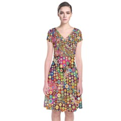 Multicolored Retro Spots Polka Dots Pattern Short Sleeve Front Wrap Dress