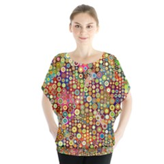Multicolored Retro Spots Polka Dots Pattern Blouse