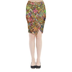Multicolored Retro Spots Polka Dots Pattern Midi Wrap Pencil Skirt
