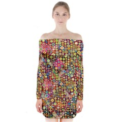 Multicolored Retro Spots Polka Dots Pattern Long Sleeve Off Shoulder Dress