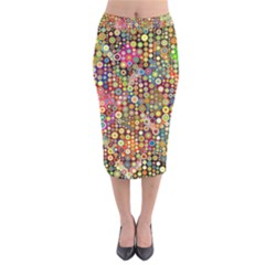 Multicolored Retro Spots Polka Dots Pattern Velvet Midi Pencil Skirt