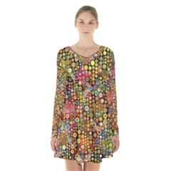 Multicolored Retro Spots Polka Dots Pattern Long Sleeve Velvet V Neck Dress