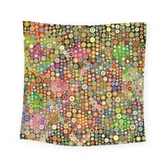 Multicolored Retro Spots Polka Dots Pattern Square Tapestry (small)