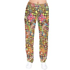 Multicolored Retro Spots Polka Dots Pattern Drawstring Pants