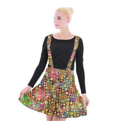 Multicolored Retro Spots Polka Dots Pattern Suspender Skater Skirt