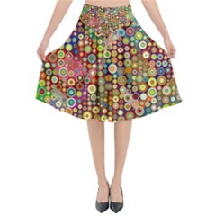 Multicolored Retro Spots Polka Dots Pattern Flared Midi Skirt