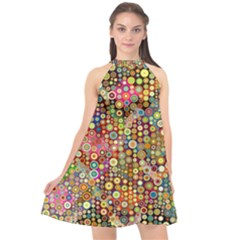 Multicolored Retro Spots Polka Dots Pattern Halter Neckline Chiffon Dress