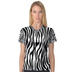 Zebra Stripes Pattern Traditional Colors Black White Women s V-Neck Sport Mesh Tee