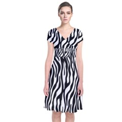 Zebra Stripes Pattern Traditional Colors Black White Short Sleeve Front Wrap Dress