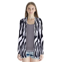 Zebra Stripes Pattern Traditional Colors Black White Cardigans