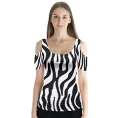 Zebra Stripes Pattern Traditional Colors Black White Butterfly Sleeve Cutout Tee
