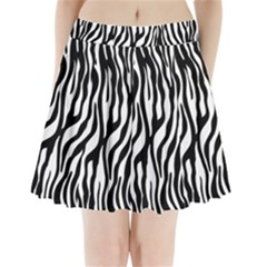 Zebra Stripes Pattern Traditional Colors Black White Pleated Mini Skirt