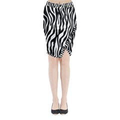 Zebra Stripes Pattern Traditional Colors Black White Midi Wrap Pencil Skirt