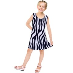 Zebra Stripes Pattern Traditional Colors Black White Kids  Tunic Dress
