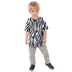 Zebra Stripes Pattern Traditional Colors Black White Kids  Raglan Tee