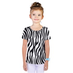 Zebra Stripes Pattern Traditional Colors Black White Kids  One Piece Tee