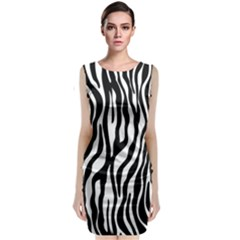 Zebra Stripes Pattern Traditional Colors Black White Sleeveless Velvet Midi Dress