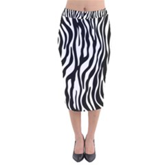 Zebra Stripes Pattern Traditional Colors Black White Velvet Midi Pencil Skirt